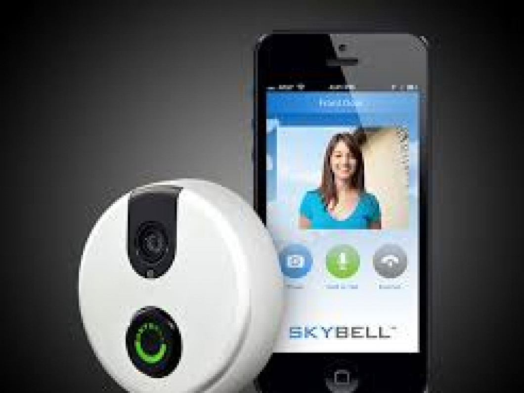 The Sky Bell is a camera doorbell. Someone can ring your doorbell and you are able to view who is at your door.